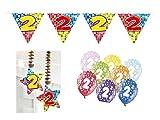 Partydeko Set 2.Geburtstag Kindergeburtstag 9 teilig Mädchen Junge Girlande Luftballon