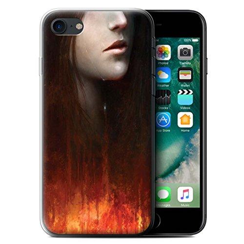 Offiziell Chris Cold Hülle / Gel TPU Case für Apple iPhone 7 / Dragonfel Tempel Muster / Gefallene Erde Kollektion Tränen der Eva