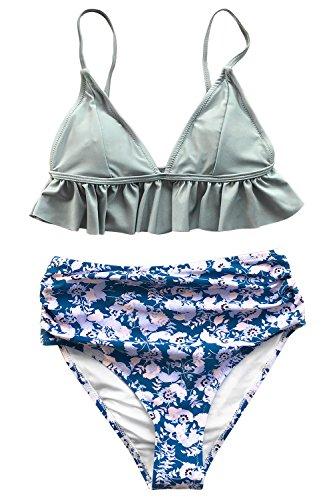 CUPSHE Magisches Kristall Bikini Anzug (XS, Blau) (Blumen Der Trocknen Kristalle)