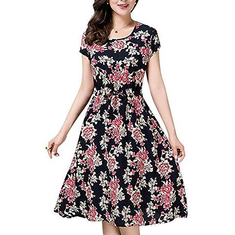 Damen 1950er Style Vintage Kleid Elegant Bunte Kleider Sommerkleider Knielang Festliche Kleider