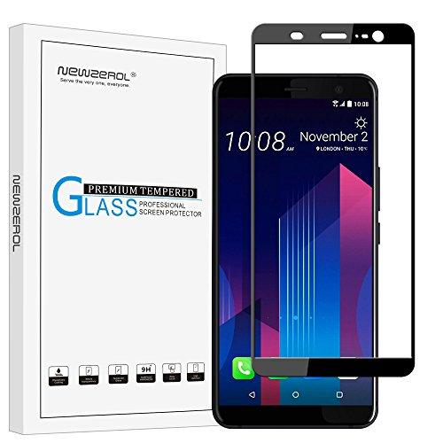 Newzerol pour HTC U11 Plus protecteur d'écran Full adhésif (15,2 cm) [Couverture complète] Protection d'écran en verre trempé 9H Haute définition Anti-bulle anti-rayures film de protection-Noir
