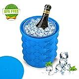 Ice Cube Maker Genie,1pcs Eiswürfelform mit Eisbehälter Silikon Eiseimer mit Deckel Platzsparende Ice Genie Eiswürfelbereiter Blau Eiswürfel GefäßKühler
