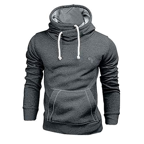 Bibao Herren Herbst Winter Kordelzug Langarm Pullover Hoodie Pocket Sweatshirts Top Bluse, dunkelgrau, Large - Erwachsenen Hoodie Pullover