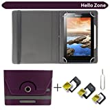 "Hello Zone With Free Sim Adapter Kit HCL ME Sync 1.0 U3 360° Rotating 7"" Inch Flip Case Cover Book Cover -Purple"