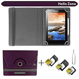 """Hello Zone With Free Sim Adapter Kit Samsung Galaxy Tab 3 7.0 T211 8GB 360° Rotating 7"""" Inch Flip Case Cover Book Cover -Purple"""