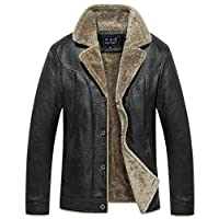 Business Leather Men's Fur Jacket Motorcycle Winter Thicken Black Leather Jacket-XL