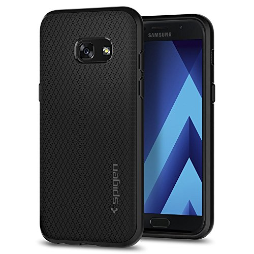 galaxy a3 case Spigen [Liquid Air] Samsung Galaxy A3 2017 Hülle, Capsule Luftpolster Air Cushion Technologie Schutzhülle mit Droid Muster Handyhülle Case (Schwarz) 572CS21140