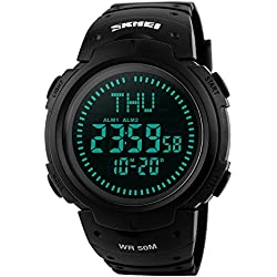 Farsler multifonction pour homme 50 m étanche Boussole montre Grand cadran d'heure EL lumiÚre Alarme ChronomÚtre Sports de plein air pour hommes Tide Electronic Digital Watch (Noir)