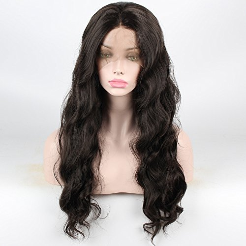 SHANDIREN Outdoor High Density Women's Natural Wave Hair Synthetic Lace Front Wigs American Heat Resistant for All Skin Women (24'' Dark Brown)