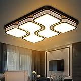 ETiME 64W Design LED Deckenlampe Deckenleuchte Wohnzimmer Lampe Schlafzimmer Küche Leuchte 2700K Schwarz Rechteck (78x53CM 64W Warmweiß)