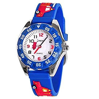 B-HERO Kids Waterproof Watch, 3D Lovely Cartoon Silicone Watch for Girl and Boy with Gift Case-2018 The Best Gift (Blue-Fire Truck)