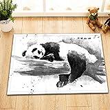 OqgsMindyzk Panda Bianco Nero dell'acquerello Cuscino e Trama Confortevole e Resistente Antiscivolo Assorbente d'Acqua Forte Protezione dell'ambiente Tappetino per la casa 60x40CM