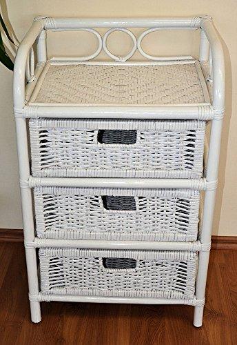 Rattanregal mit 3 Schüben , Korbregal mit Schub , Korbfarbe : weiß lackiert , Größe : B 45 cm , T 36 cm , H 75 cm .