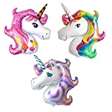 3große Einhorn Kopf Rainbow Pink Lila Folie Helium Ballon für Kinder Geburtstag Hochzeit Party (3Einhörner Luftballons)