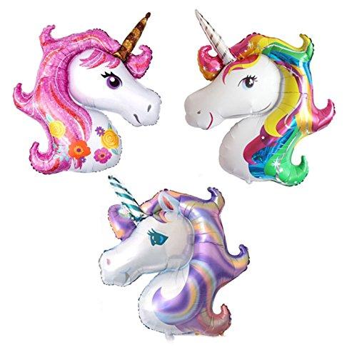 Globo de helio con cabeza de unicornio de color rosa y morado, 3 unidades, tamaño grande, para niños, cumpleaños, bodas, fiestas (3 globos de unicornios)