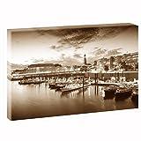 Hamburg - Hafen | V1720208 | Bilder auf Leinwand | Wandbild im XXL Format | Kunstdruck in 120 cm x 80 cm | Bild HH Hansestadt Kai Hafen Kontorhäuser Hanse Elbe (Sepia)