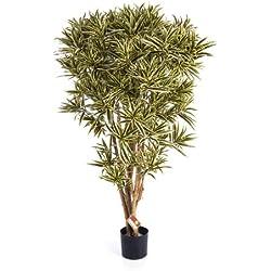 artplants - Deko Dracaena Reflexa Jamaica Amelia, gelb-grün, 145 cm - Künstliche Zimmerpflanze/Deko Palme
