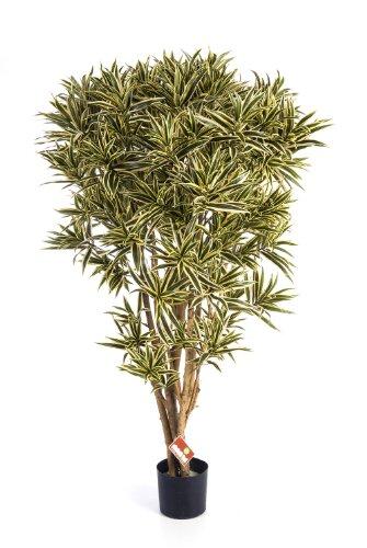 artplants - Deko Dracaena Reflexa Jamaica AMELIA, gelb-grün, 145 cm - Künstliche Zimmerpflanze / Deko Palme