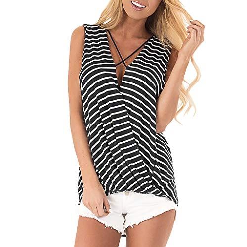 treifen Weste, LeeMon Ärmelloses T-Shirt mit V-Ausschnitt und Streifendruck für Damen Easy Tops ()