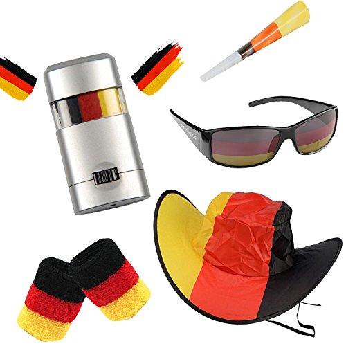 Piersando Männer Fan Set Deutschland Fussball EM & WM Länderflagge Fanartikel Land Flagge Armband Hut Schminke Brille