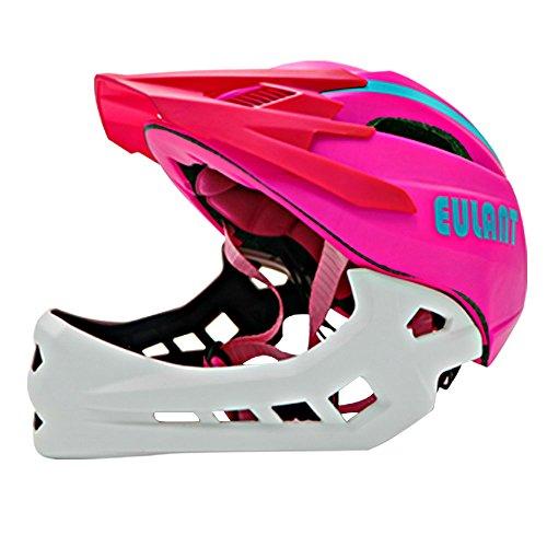 Kinder Fahrradhelm, Full Face Helm für Junge und Mädchen, Fahrrad Fullface Helm Kind, Leichter Jugendhelm mit Kinnschutz Abnehmbar, Sicherer Kinderhelm, Verstellbare...