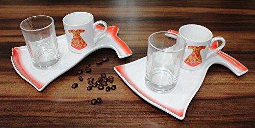6 tlg. Kaffeetassen - Kaffeeservice Espresso Mokka für 2 Personen • Rot Modell • Fein Porzellan...