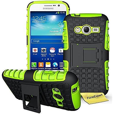 Samsung Galaxy Grand Neo Plus Funda, FoneExpert® Heavy Duty silicona híbrida con soporte Cáscara de Cubierta Protectora de Doble Capa Funda Caso para Samsung Galaxy Grand Neo Plus i9060 / Galaxy Grand Neo + Protector Pantalla (Green)