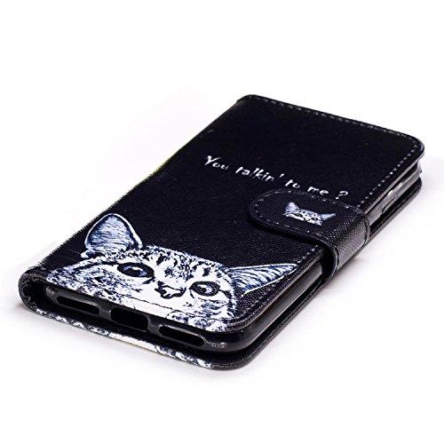Custodia iPhone 7 / iPhone 8 Cover ,COZY HUT Flip Caso in Pelle Premium Portafoglio Custodia per iPhone 7 / iPhone 8, Retro Animali di cartone animato Modello Design Con Cinturino da Polso Magnetico S Gatti curiosi