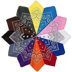 HBselect 12 Piezas Unisex Bandana Cabeza Hombre Algodon 54 * 54 CM Pañuelos Cuello Mujer Multicolor Pañuelos Hombre Cuello Pañuelo Deportivo