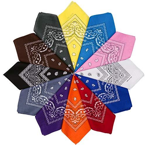 HBselect 6-12er Bandana Kopftuch mehrfarbige und multifunktionale Tücher als Halstuch aus 100% Baumwolle mit original Paisley Cashew Muster 51×51 ()