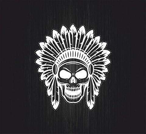 Autocollant sticker biker moto motard tete de mort indien skull pirate blanc