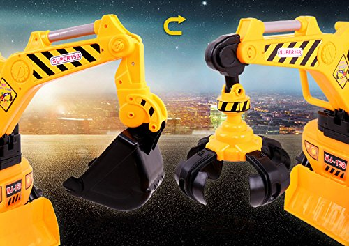Image of RICCO® 2 in 1 Ride On Toy Digger Excavator Grabber Bulldozer with Helmet
