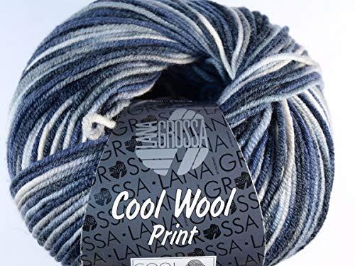 Lana Grossa Cool Wool 2000 Print 753 Natur/Grau/Hellgrau/Schwarz/Nachtblau -
