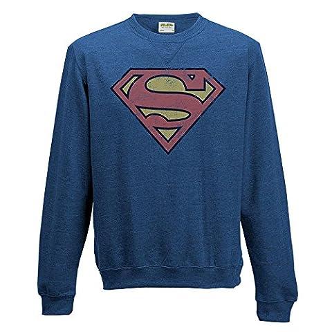 Dc Comics Superman - Distressed Logo Crewneck Sweatshirt Medium