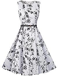 ZAMME Vestido del vintage de las mujeres Patinador floral retro del partido de Rockabilly de los