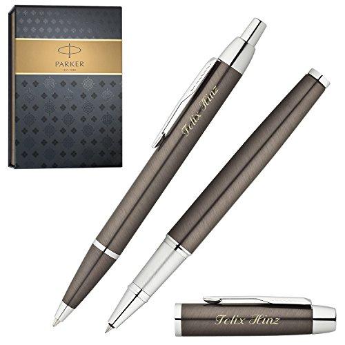 PARKER Schreibset IM Gunmetal C.C. Kugelschreiber und Tintenroller mit persönlicher Laser-Gravur im...