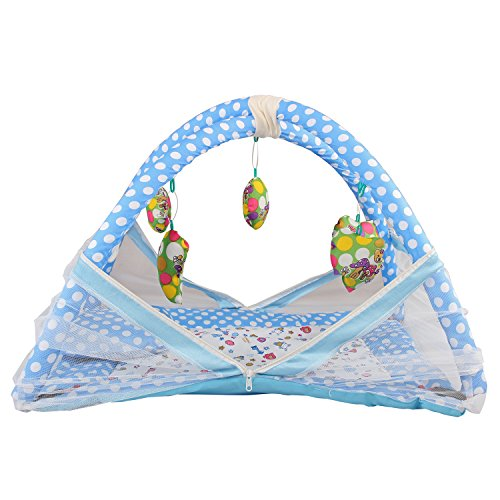 DearJoy Baby Kick and Play Gym with Mosquito Net (Blue Nursery Print)