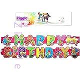 Ziggle Big Birthday Banner Glitter Decorated Happy Birthday Banner Very High Quality (5 Feet Length)