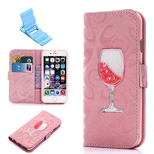 iPhone 7Plus Lederhülle, SXUUXB iPhone 8Plus Stylish Bling Dynamic Flüssig Treibsand Schale mit Shine Brilliant Sequins Transparent Wine Glass & Bookstyle Serie Purse aus PU-Leder Beutel Back Cover für Apple iPhone 7Plus/8Plus 5,5 Zoll, - Pink x 1 kostenlose Halterung (Farbe Zufällig)