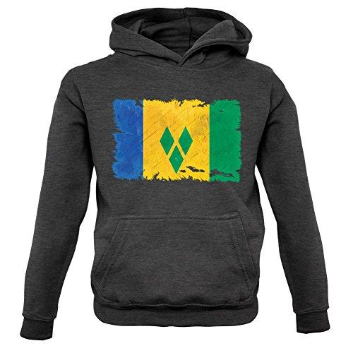Saint Vincent and the Grenadines / St. Vincent und die Grenadinen Flagge im Grunge-Stil - Kinder Hoodie/Kapuzenpullover - Dunkelgrau - XXL (12-13 Jahre)