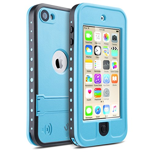 iPod Touch 5 6 Hülle, ULAK iPod Touch Case Wasserdicht Stoßfest Dirtpoof Schutzhülle Case Cover für Apple iPod Touch 5 6 Generation mit Standfunktion (Blau) (Ipod Touch 4 Case Ständer)
