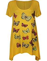 New Ladies Plus Size Hanky Swing Hem Short sleeve Butterfly Tunic Tops 14-28