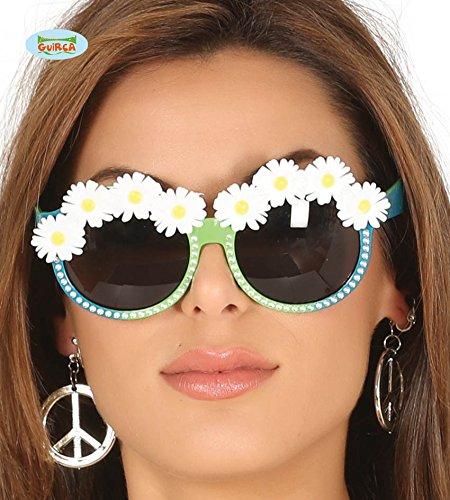 Guirca Hippiebrille mit Steinchen Brille Glitzer Partybrille Blumen Spaß Deko Feier Fasching Disco