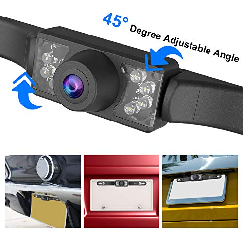 Esky High Definition Color Wide Viewing Angle Universal Waterproof Car Rear View License Plate Backup Camera with 7 Infrared Night Vision LEDs
