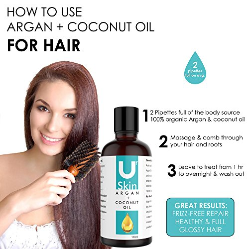 NATURAL Argan Oil & Coconut Oil For Face, Hair, Skin & Body – 100% Cold Pressed Moroccan Argan Oil – Reduces Wrinkles, Improves Skin Hydration & Increases Skin Elasticity! – Great for Dry Scalp, Split Ends, Dry & Damaged Hair – High Quality Ingredients – 100% Satisfaction