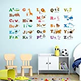 Decowall DW-1308 Alphabet ABC and Animals Kids Wall Stickers Wall Decals Peel and Stick Removable Wall Stickers for Kids Nursery Bedroom Living Room (Medium)