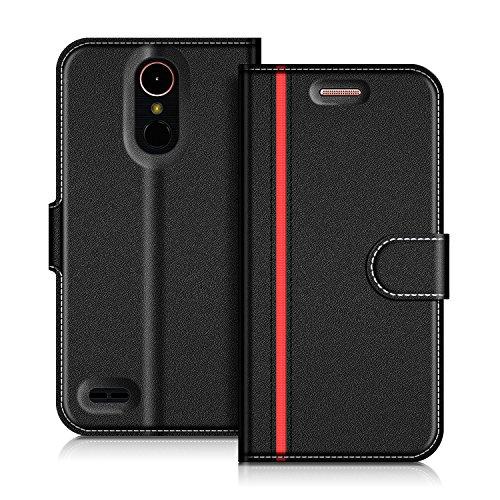 COODIO LG K10 2017 Hülle Leder Lederhülle Ledertasche Wallet Handyhülle Tasche Schutzhülle mit Magnetverschluss/Kartenfächer für LG K10 2017, Schwarz/Rot