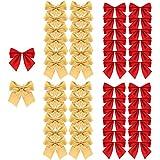 Amacoam Weihnachtsbaum Schleifen Gold Rot Schleife Weihnachten Weihnachtsbaumschleifen Mini Weihnachtsbaum Bögen 6 cm Band Bögen Ornamente für Weihnachtsbaum Hängende Dekoration Geschenke 48 Stück