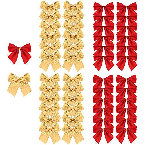 Amacoam Lazos Navidad Arbol Dorada Rojo 48 Piezas