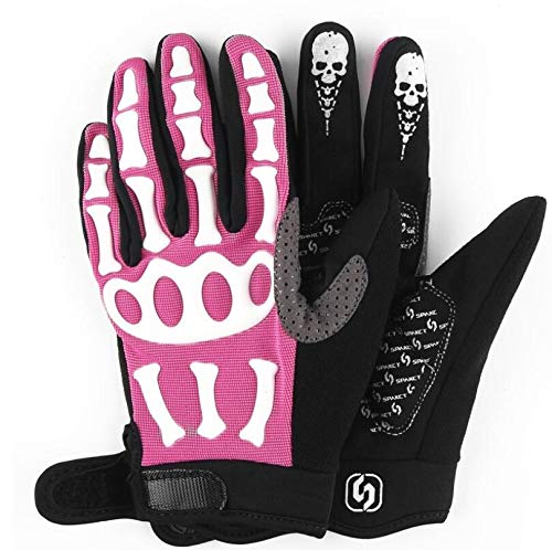 DUBAOBAO Radfahren volle Fingerhandschuhe, Fahrrad Motorrad Gel volle Finger, Schweiß Frottee + Kissen Schutz, Herbst Winter,Pink,XL